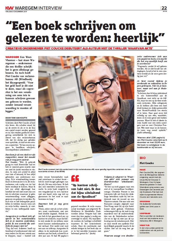 krantenartikel Waarvan akte Piet Coucke Krant van West-Vlaanderen
